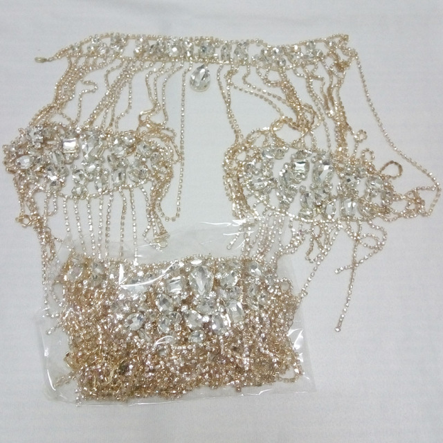 1b4c5986317 Gold Shoulder Necklace New Luxury Wedding Bride Big Crystal Lace Bridal  Chain Princess Platform Prom Crystal Shoulder Jewelry