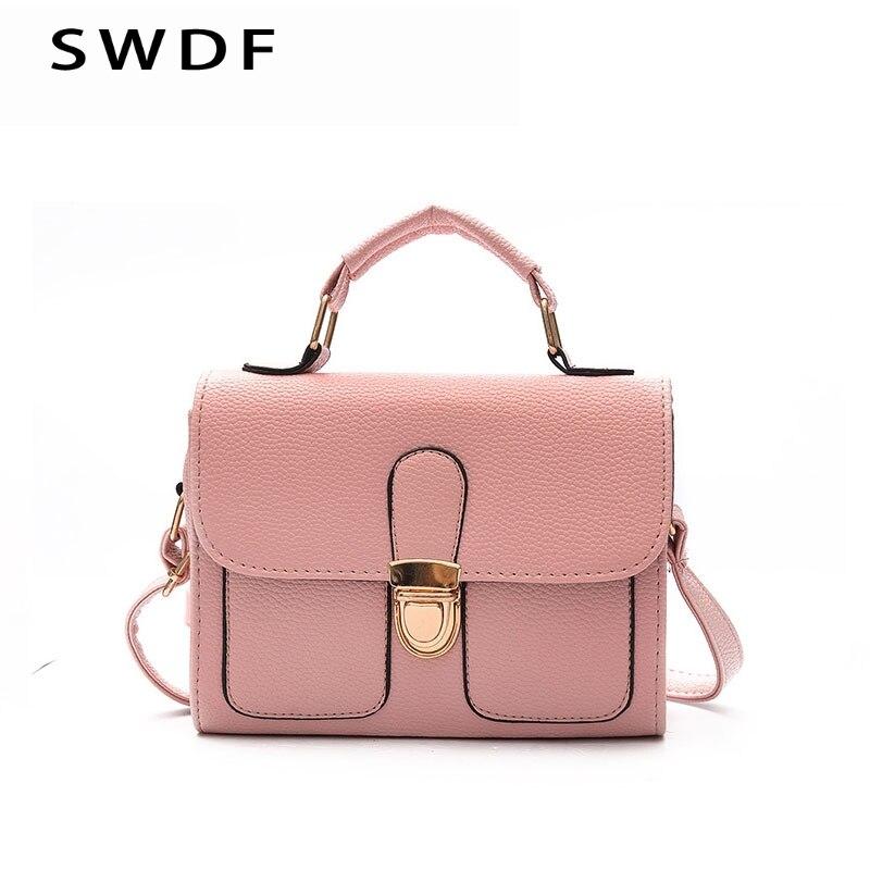 SWDF Mini Lady Woman Messenger Bags Retro Leather Small Shoulder Strap Womens Handbags Ladies Designer Rivet Flap Shoulder Bag