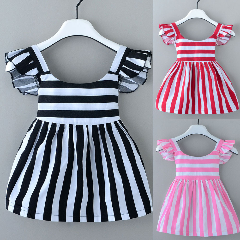 Hot sale Toddler Kids Baby Girl Stripe Dresses Sleeve Casual Dress Clothes Outfit children dresses girls new 2017 vestidos