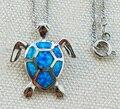 Bonito blue fire opal projeto da tartaruga de mar pingente colar para as mulheres