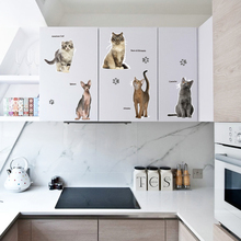 SK7084 3D Cartoon Vivid Cats Wall Stickers For Kids Baby Rooms Poster Home Decor Cabinet Stove Window Decals DIY Art Mural