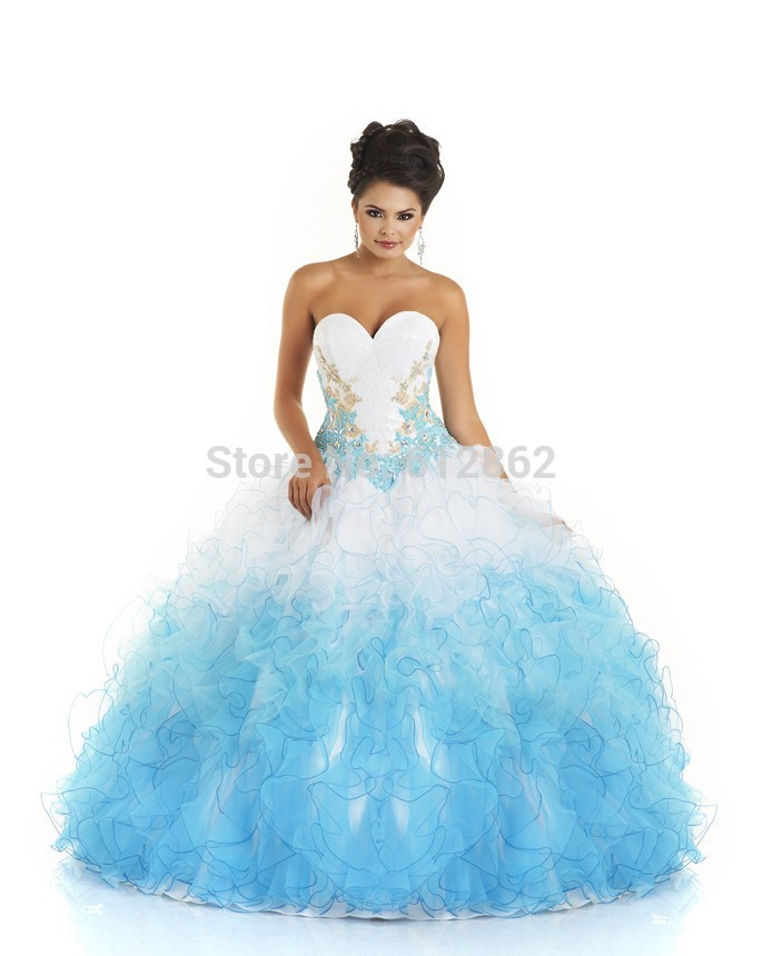 Turquoise Organza Wedding Gown