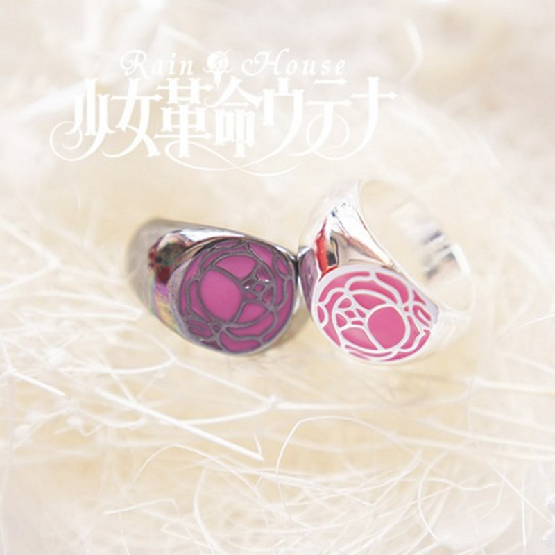 Revolutionary Girl Utena Utena Tenjo GEM Cosplay Anime Ring Rose Signet Alloy Women Ring Jewelry Cosplay Accessories Badge