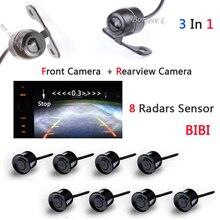 Vídeo Parktronic sensores Radar Del Estacionamiento Del Sistema de Alarma 8 Sensores con Cámara Frontal Cámara de visión Trasera de Ayuda Al Aparcamiento sensor de Ciegos