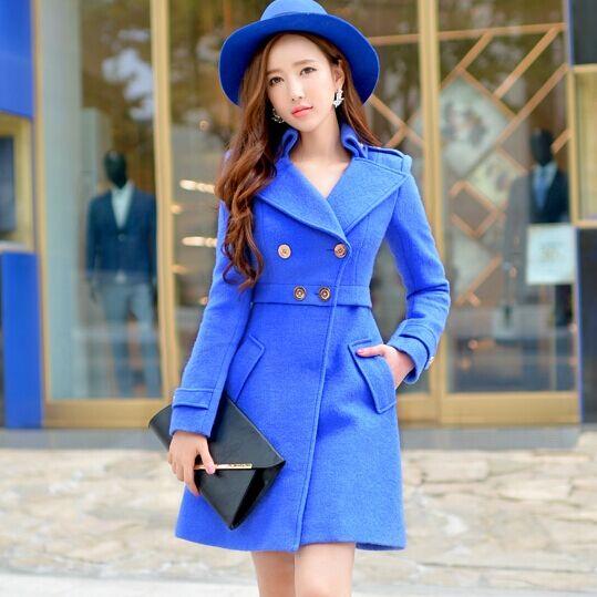 Original 2016 marca Otoño Invierno Inglaterra más tamaño hembra abrigo  formal elegante azul largo manteau Femme 6442312a5f7f