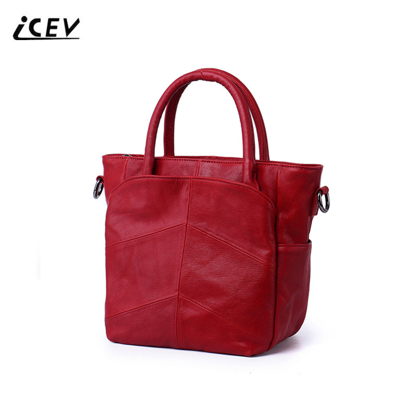 ICEV New Simple Patchwork Women Leather Handbags Genuine Leather Handbags High Quality Cowhide Ladies Organizer OL Office Totes icev new brands simple classic female cow leather designer handbags high quality genuine leather handbags women leather handbags