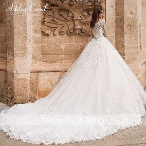 Image 2 - Ashley Carol ślub księżniczki sukienka 2020 z długim rękawem aplikacje zasznurować łódź szyi rocznika linii suknia ślubna Vestido De Noiva