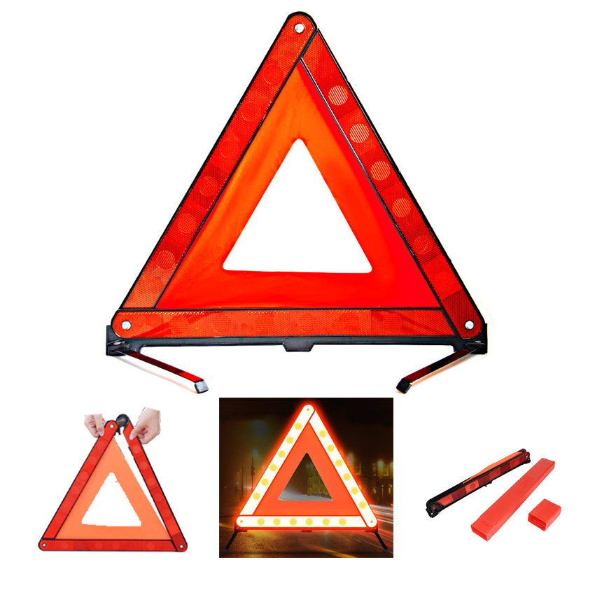 Tripod Road Flasher Practical Car Stop Sign Triangle Emergency Warning Sign Foldable Reflective Safety Roadside Lighting