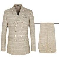 YUSHU 2019 мужские классические костюмы хаки клетчатый мужской пиджак Свадебный Жених формальный деловой комплект брючный костюм брюки