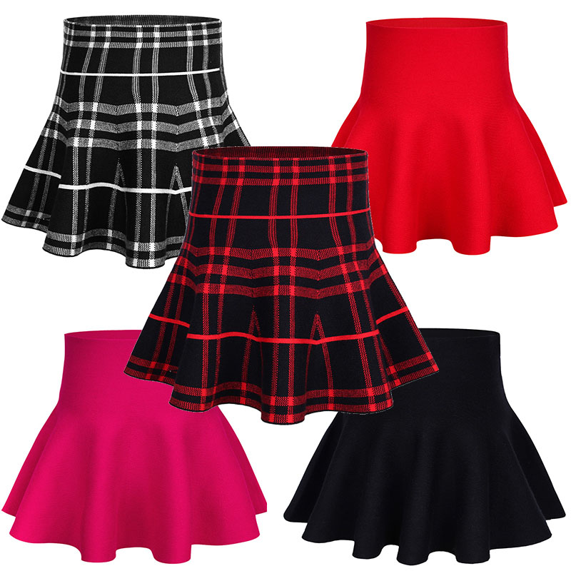 2017 Fashion Spring Autumn toddler girl skirts kids Ball Gown Knitting Pleated mini Skirt children girls high waist Tutu Skirt dabuwawa autumn women fashion sexy plaid skirt elegant mini pleated skirt short streetwear asymmetrical skirt d17csk031 page 4