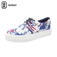 RenBen Flats Casual Shoes Women Fashion Graffiti Canvas Lightweight Loafers Female Shoes Woman Print Pattern Breathable Shoes