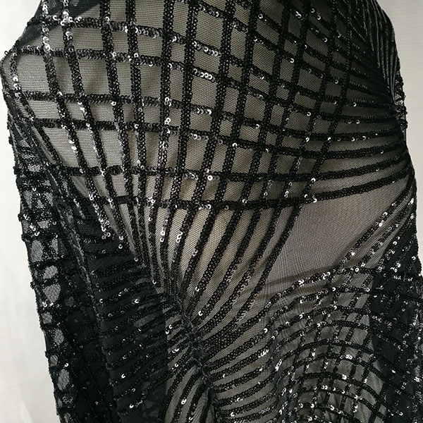 1 Yard Black evening gowns lace fabric! European and American style Super quality Stretch sequins fabric lace Elegant