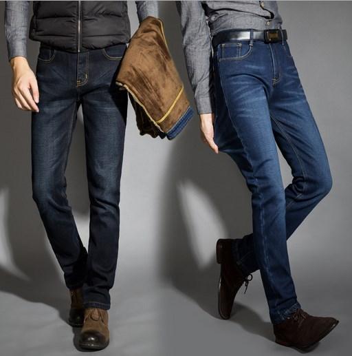 Mens Winter Thicken Stretch Denim Jeans Men Warm Fleece Jean Pants Trousers Plus Size 36 38 40 42