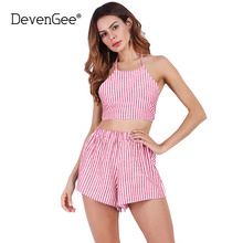 DevenGee 2017 Summer Women Clothing Set Sexy Crop Top and Shorts Skirt 2 Piece Set Halter Striped Women Two Piece Set Outfits