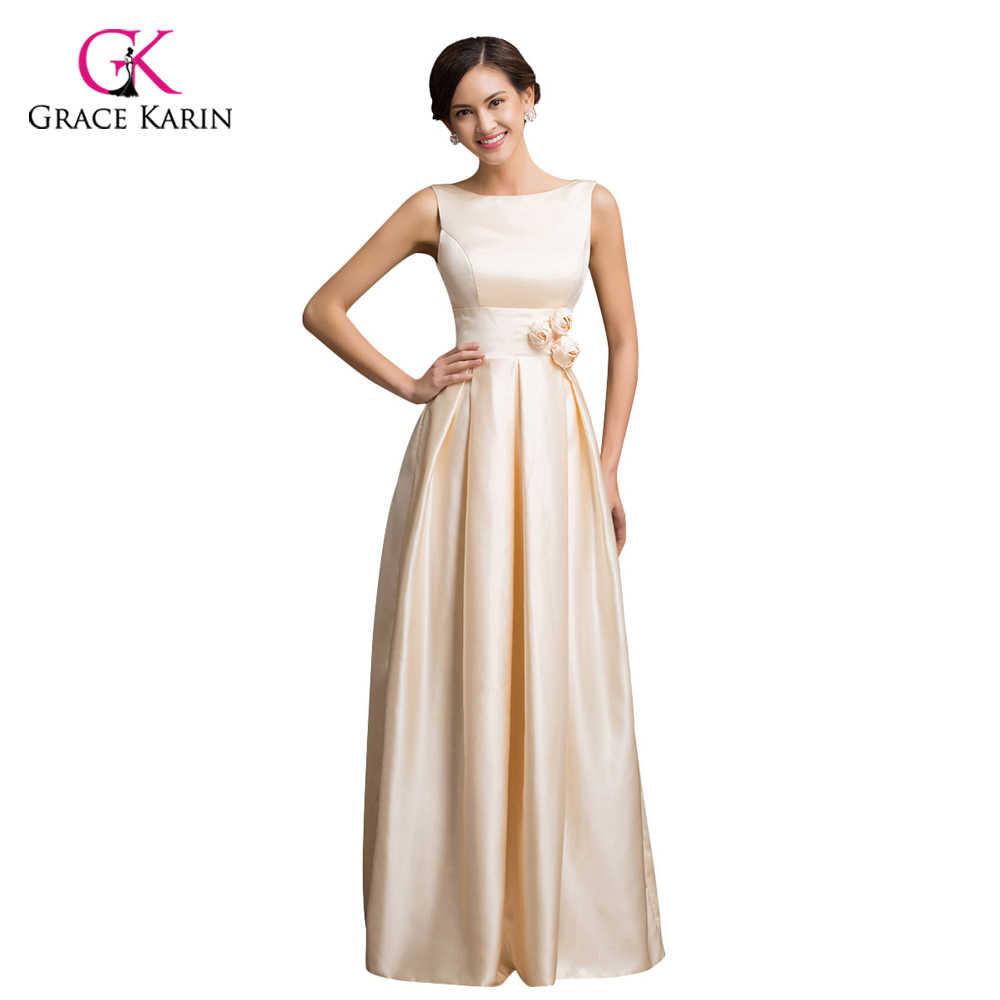 Grace Karin Satin Evening Dress 2018 Apricot Sleeveless Low-Back Long  Formal Evening Gowns Prom 5917dfa5b878