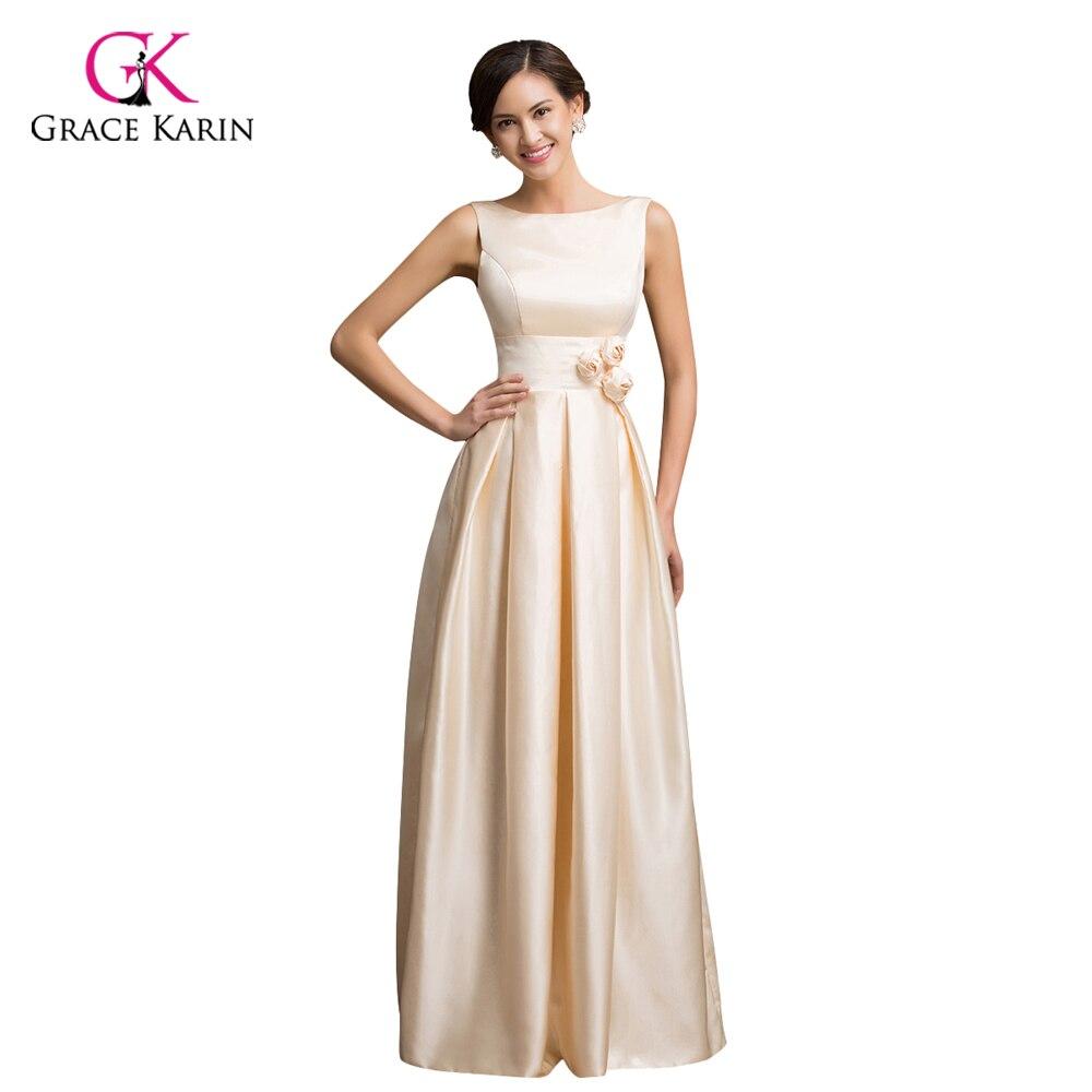 Grace Karin Satin Evening Dress 2018 Apricot Sleeveless Low-Back ...