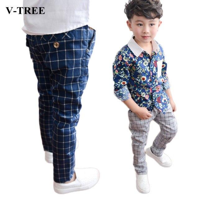 9fc97c0294 V-TREE NEW fashion junior boys cotton pants kids plaid boys harem pants  roupas infantis