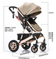 TIANRUI Baby Stroller 8 Free Gifts Folding Carriage Pushchair Portable Pram High Landscape Newborn Infant Sit and Lie 4 Wheels