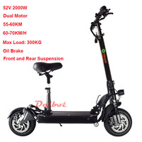 2000W Powerful Dual Motor Electric Scooter Skateboard Off Road Hoverboard Mini Bicycle With Seat Remote Controller