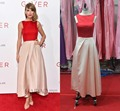 Pleated Satin Swift Ombre Dress Celebrity Dresses 2015 Cheap 100% Real Pictures A Line Sleeveless Ankle Length Red Prom Dresses