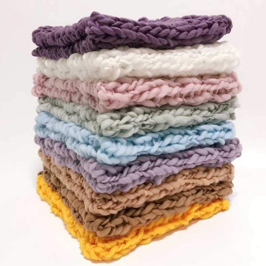 Lana Crochet ganchillo recién nacido bebé manta bebé fotografía accesorios manta de punto grueso relleno de cesta 10 colores # P1010