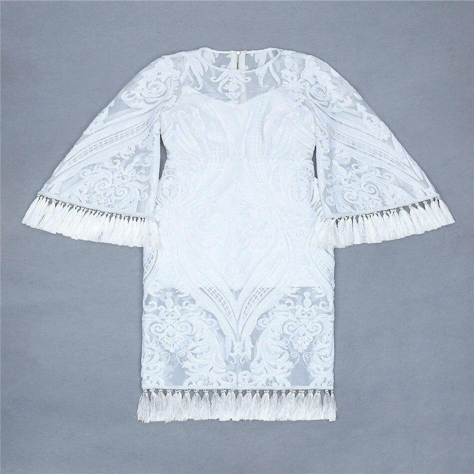 Del White Sexy Dalla Partito Autunno Sera Modo Lunga Vestito Da Signore Donne Delle Ciemiili Veatidos Manica Fasciatura Vestiti Club Bodycon Di RwzqtUf