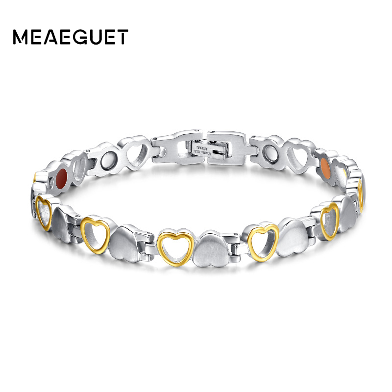 Meaeguet Fashion Heart Health Magnetic Bracelet For Women 316L Stainless Steel Health Care Elements Bracelet Hand Chain Jewelry magnetic bracelet womens