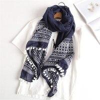 Yus 65*185センチ女性の綿とリネンレトロヘアボールスカーフラップ中国スタイルレディーススカーフ大格子刺繍pashmin