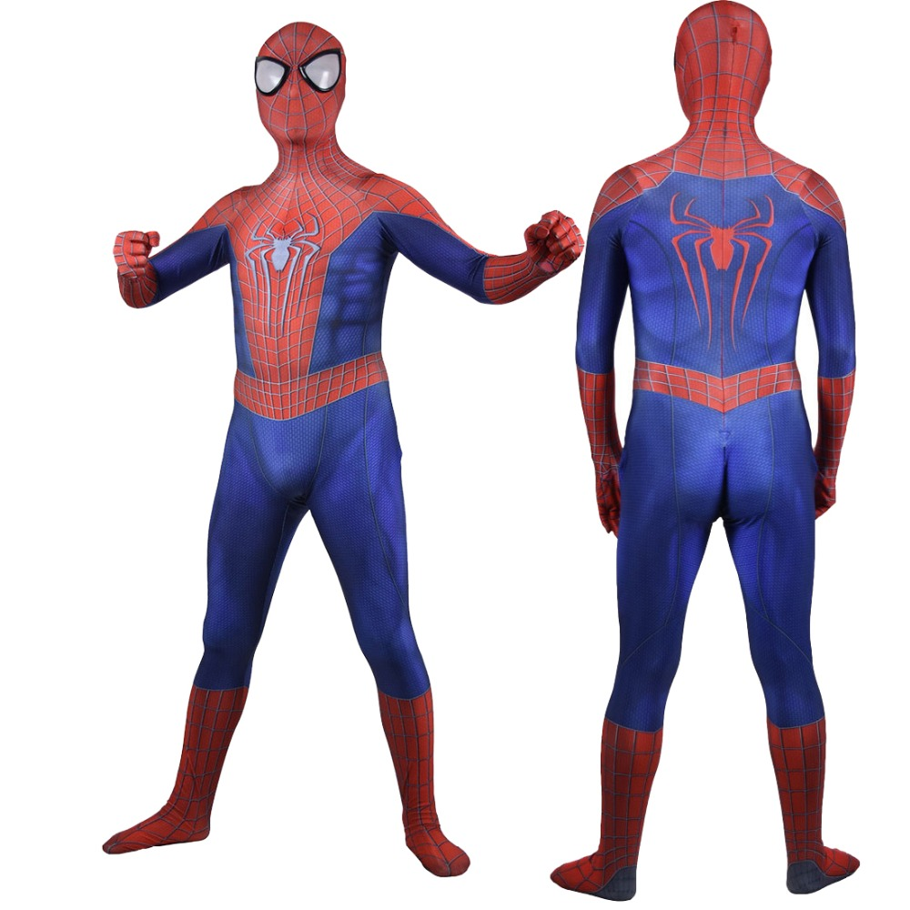 The Amazing Spider-man Two Cosplay Costume Men Boys Spider-man 2 Superhero 3D Spandex Zentai Suit Ball Bodysuit
