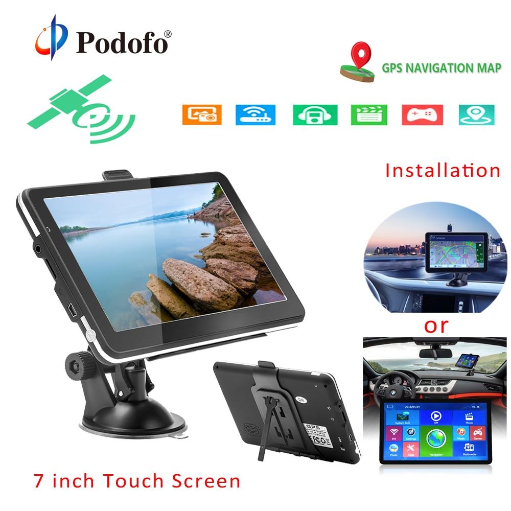 Podofo 7 inch Car GPS Navigation FM Bluetooth 8GB Map navigator with Free Upgrade Europe Sat nav Truck gps navigators automobile