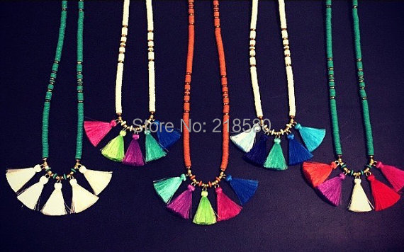 N15060807 Boho Half Chain Half Howlite Rondelle Beads Small Tassel Neklace RANDOM TASSEL COLOR