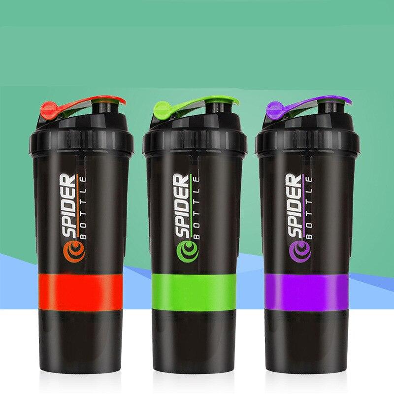 Шейкер Бутылка для белка 500 мл порошок чашки Пластик смешивания белка шейкер бутылок для спорта три Слои Спорт Фитнес YYB01 ...