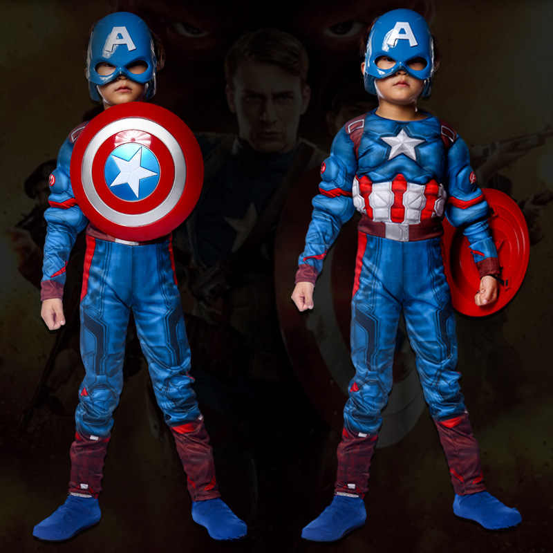 children christmas boys halloween costumes girls cosplay carnival captain america costume for kids fancy shield Muscle new year