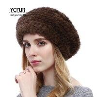 YCFUR Winter Warm Mink Berets Hats For Women Handmade Knitted Genuine Mink Fur Caps Hats Female