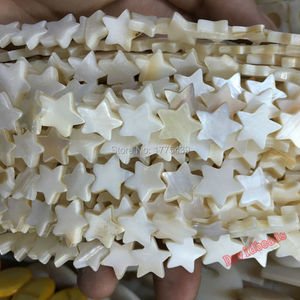 Free Shipping White Natural Mother of Pearl Shell five-pointed star Pentagram Beads Approx 39CM Per Strand(China)