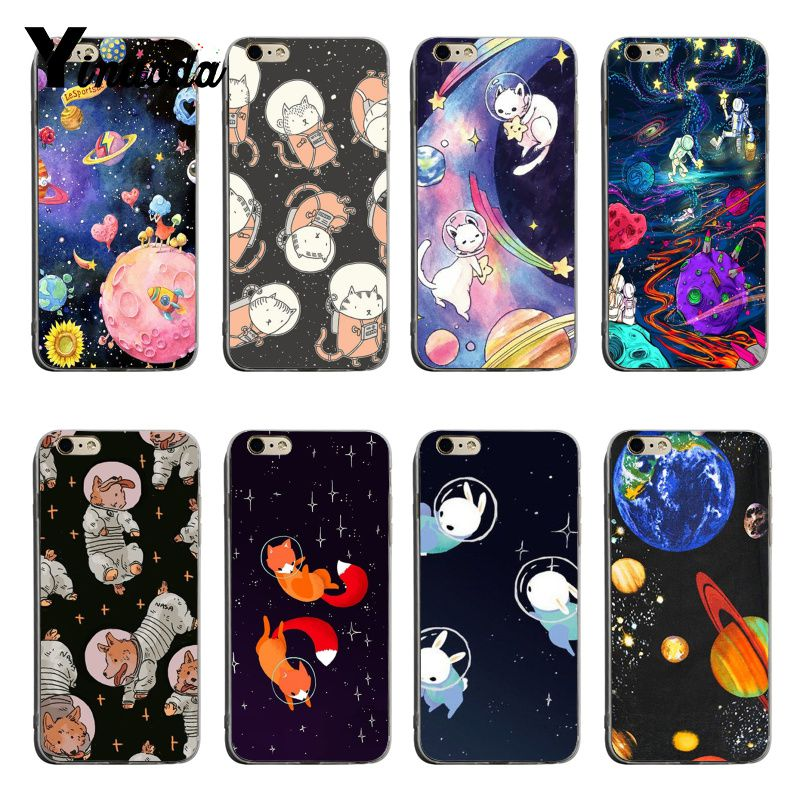 Yinuoda For Iphone 7 6 X Case Cat Astronaut Dog Fox Space Moon Universe Foxes Phone Case For Iphone 7 X 6 6s 8 Plus 5 5s Se 5c Half-wrapped Case