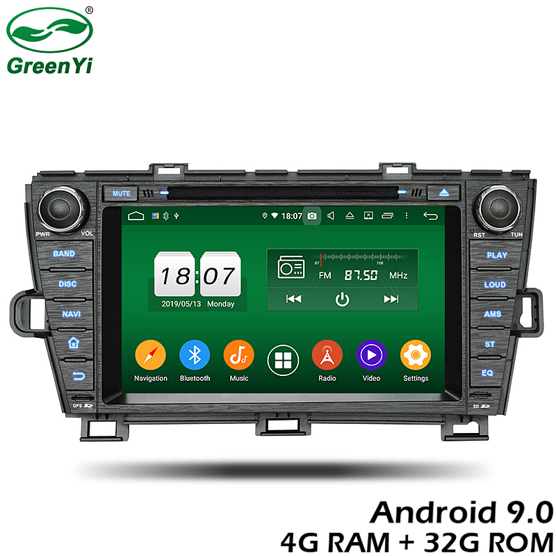 GreenYi 4G RAM Android 9.0 Car DVD For Toyota Prius 2009 2010 2011 2012 32G GPS