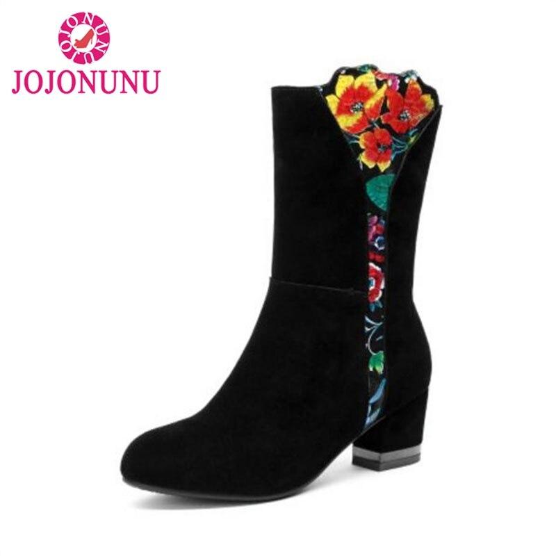 43 Invierno multiple Tamaño Cremallera Tacón Botas Mujeres De Jojonunu Snkle Negro Piel Flor Felpa Caliente Zapatos Cuero 33 Gruesa SqwCFaU1