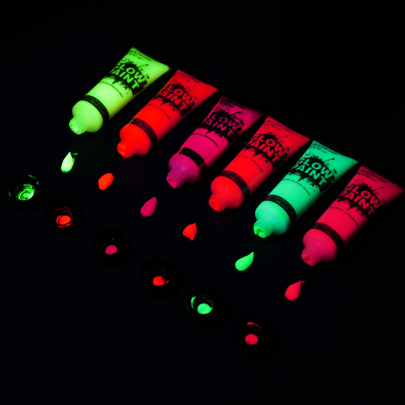 6/7 Colors Acrylic Paint Glow In The Dark Gold Glowing Paint Luminous Pigment Fluorescent Powder Painting For Nail Art Supplies