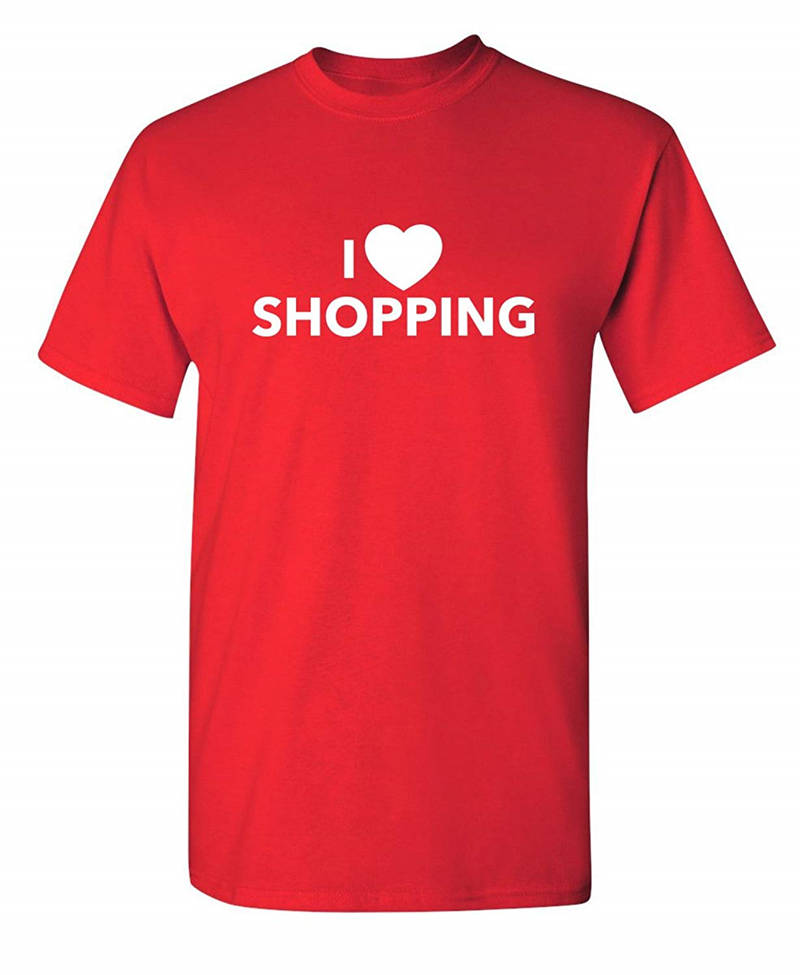 Fashion Style Short Sleeve Short I Love Shopping Crew Neck Mens T Shirts