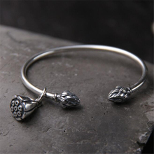 Handmade Lotus Bud Open Bracelet For Women Hyperbole Lotus Seedpod Bangle Real 925 Sterling Silver Jewelry uglyless real 999 silver fine jewelry women simple fashion thick bangles ethnic fish open bangle handmade engraved lotus bijoux