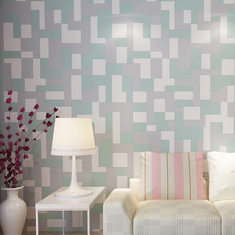 High quality 3D Mosaic Wallpaper Europe Modern Embossed Flocking Non-Woven Living room TV Background  Wall paper 5 Colors