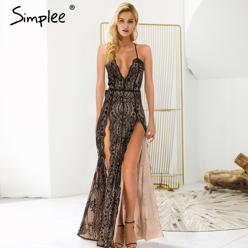 Simplee Sexy backless halter sequin party dresses Side high split maxi dress autumn winter Deep v neck strap long women dress