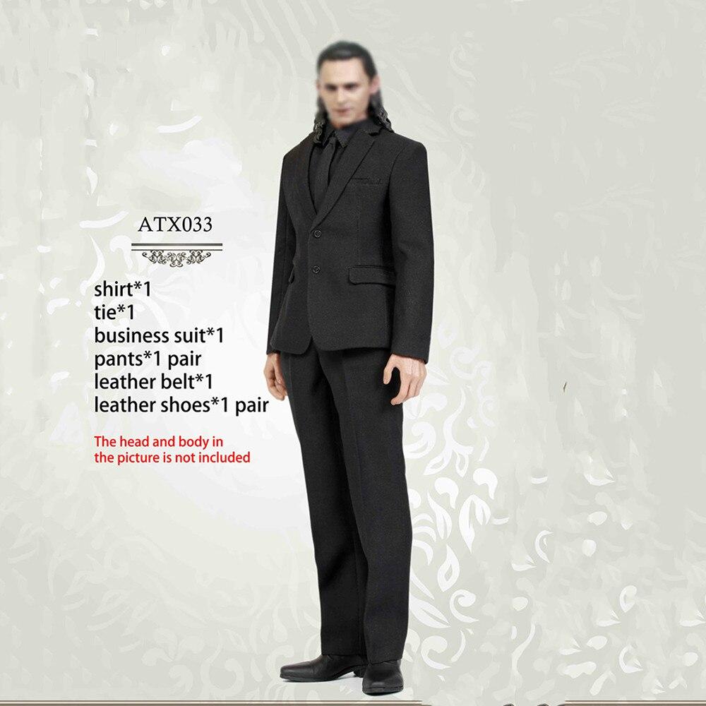 1/6 Échelle Modèle Loki Noir costume d'affaires ensemble Vêtements Costumes avec chaussures pantalon Pour 12