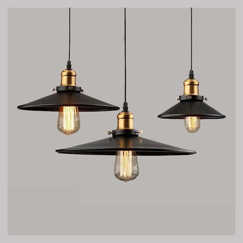 ФОТО Loft Industrial Warehouse Pendant Lights American Hanging Lamps Vintage Lighting for Restaurant Bedroom Home Fixtures Black
