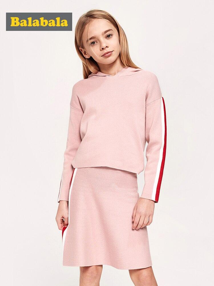 Balabala, suéter con capucha de punto fino de 2 piezas para niñas, Parte posterior más larga + falda tejida con juego de rayas laterales, conjunto de ropa para niñas adolescentes