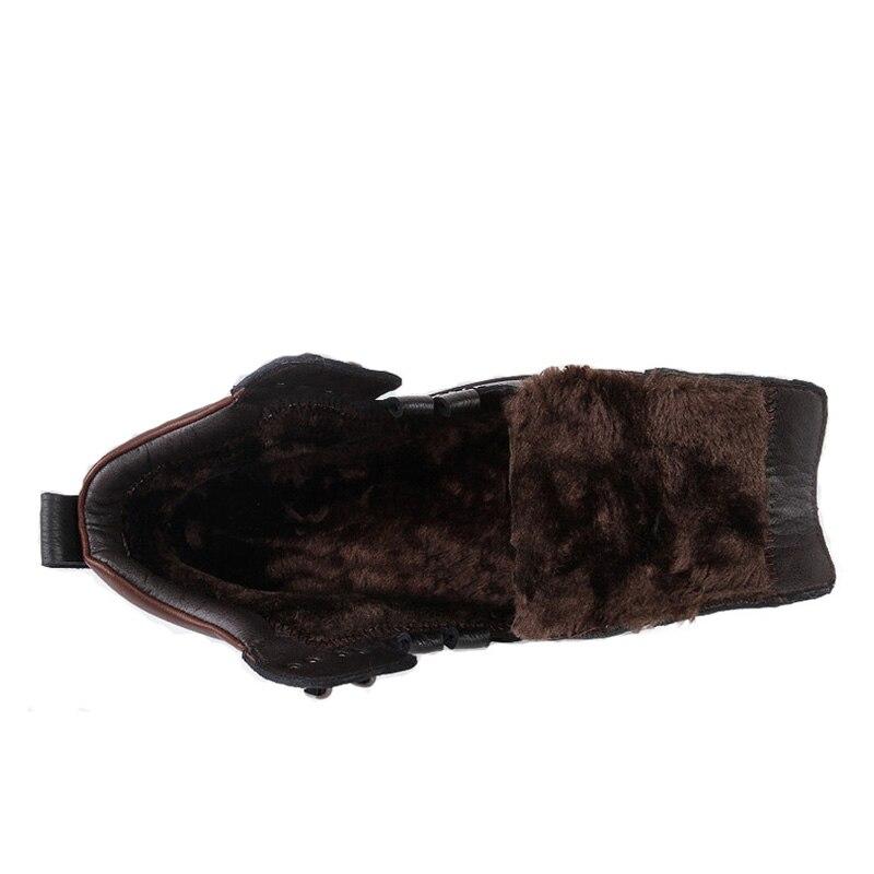 Invierno Caliente Nieve Hombres La Para Botas marrón Genuino Negro Adulto Zapatos Goma Tobillo Casual Hombre Los Antideslizante Cuero De Piel Dropshipping SFwvzqYpxW