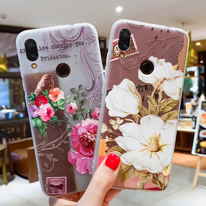 Image 2 - Soft TPU Phone Cases For Xiaomi 9 Case For Xiaomi Mi5S Mi5X Mi6 Mi6X Mi8 8SE 8Lite Relief Floral Phone Covers For Pocophone F1