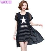 YAGENZ Summer Dress Women 5 XL Plus size Dresses Fashion Women Chiffon Dress Striped Stitching Fake Two Pieces Ladies Dress 348