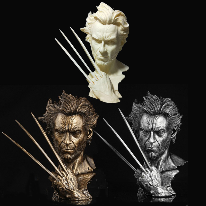 1/4 X MEN Wolverine Hugh Jackman Copper or Iron, White painting Bust Statue for fans collection and holiday gift
